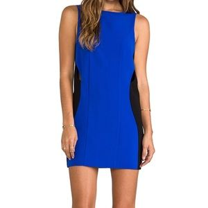 Black and Blue Shift Dress With Cut-outs